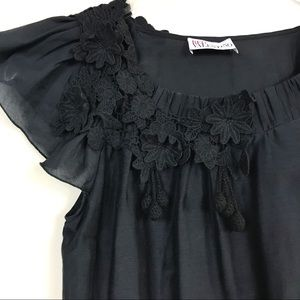 RED Valentino Ruffle Cap Sleeve Blouse